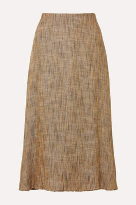 Theory Herringbone Tweed Midi Skirt - Brown