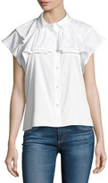 AG Adriano Goldschmied Marina Short-Sleeve Ruffled Top, White