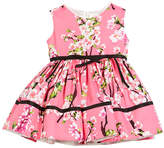 Helena Cherry Blossoms Crewneck Dress, Pink, Size 2-6