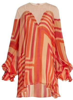 Katie Eary Geo-print Silk-chiffon Dress - Red Multi