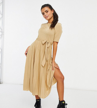 ASOS DESIGN Petite midi belted pleated dress in camel