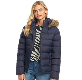 Fluid Womens Hooded Puffer Jacket Navy