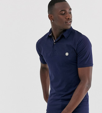 Le Breve Tall slim fit polo shirt-Navy