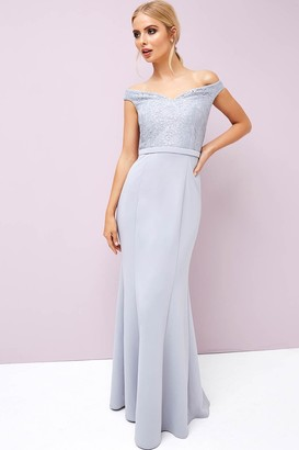 Little Mistress Grey Lace Maxi