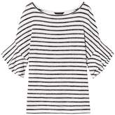 Banana Republic Stripe Soft Jersey Flutter-Sleeve Top