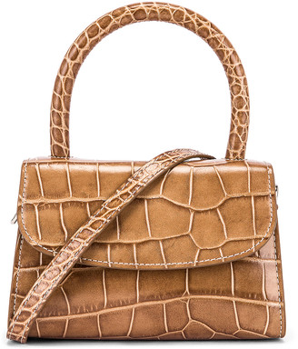 BY FAR Mini Croco Embossed Leather Bag in Taupe | FWRD
