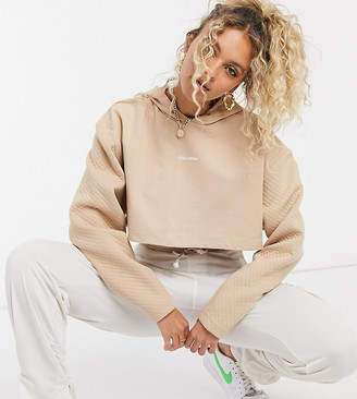 Collusion cropped hoodie with quilted sleeves in brown