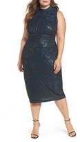 Sangria Plus Size Women's Mock Neck Foil Print Midi Dress