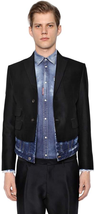 DSQUARED2 Silk Wool Jacket W/ Denim Hem
