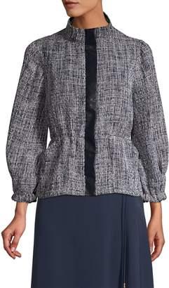 Donna Karan Three-Quarter Sleeve Textured Peplum Jacket