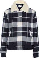 Sandro Vanja shearling-trimmed plaid wool-blend coat