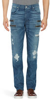 Hudson Distressed Zip-Accented Jeans