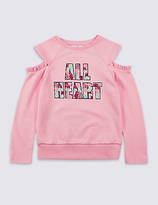 Marks and Spencer Cotton Rich Sequin Sweatshirt (3-14 Years)