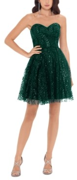 Blondie Nites Juniors' Strapless Glitter Dress