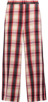 MSGM Checked Brushed Wool-Twill Wide-Leg Pants