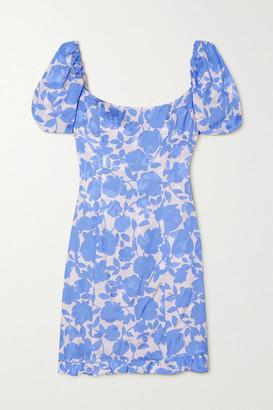 De La Vali Koko Floral-print Satin-jacquard Mini Dress - Blue