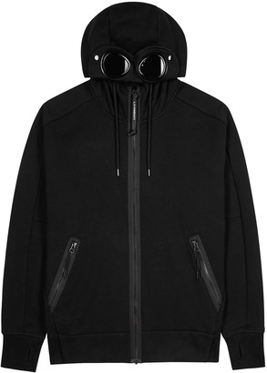 C.P. Company Goggle Black Hooded Cotton Sweatshirt