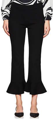 Lisa Perry Women's Ponte Crop Flared Flounce Pants - Black