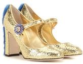 Dolce & Gabbana Embellished Fur-trimmed Glitter Pumps