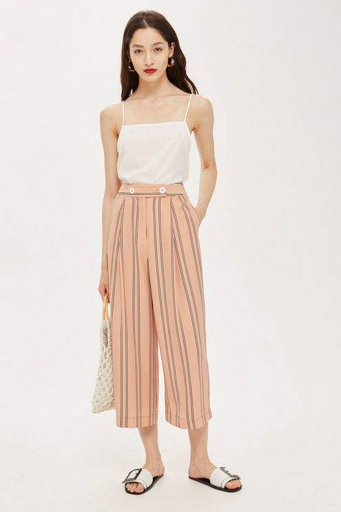 Topshop Womens Striped High Waist Culottes