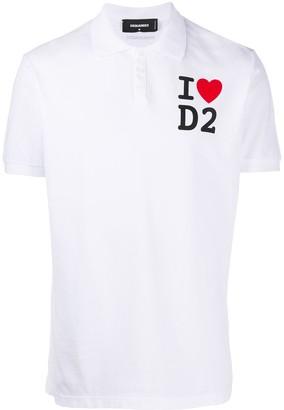 DSQUARED2 Love Logo Print Polo Shirt