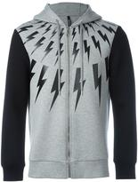 Neil Barrett lightning print zipped hoodie