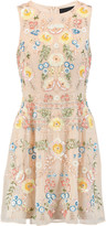 Needle & Thread China Rose embellished chiffon mini dress