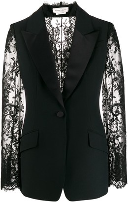 Alexander McQueen Lace Panels Single-Breasted Blazer