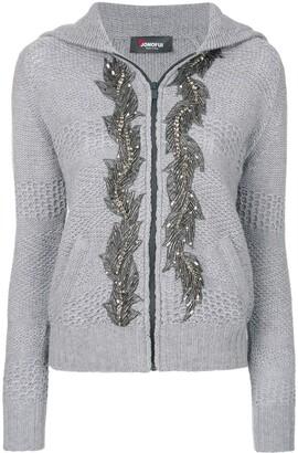 Jo No Fui embellished hooded cardigan
