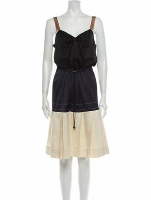 Lanvin Linen Knee-Length Dress Black