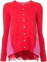 Sacai lace trim cardigan - women - Cotton/Cupro/Wool - 1