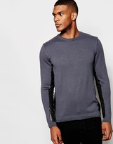 Asos Sweater With Leather Look Side Panel