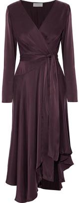 Zimmermann Asymmetric Ruffled Washed Silk-satin Midi Dress