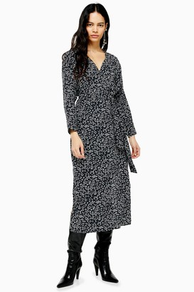 Topshop Womens Black And White Tie Smock Midi Dress - Monochrome
