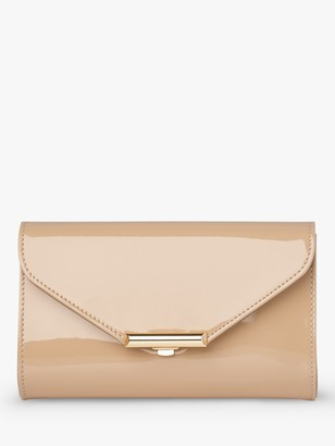 LK Bennett Lucy Envelope Patent Leather Clutch Bag, Trench