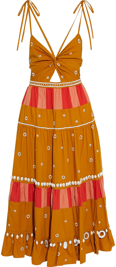 Ulla Johnson Kali Twist-front Paneled Embellished Cotton-poplin Midi Dress