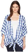 Collection XIIX Watercolor Gingham Kimono Women's Clothing