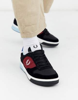 Fred Perry B330 suede trim trainers in black