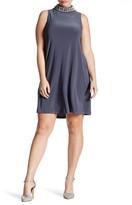 Marina Mock Neck Jeweled A-Line Dress (Plus Size)