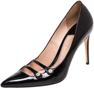 Gucci Black Patent Leather Aneta Pointed Toe Pumps Size 38