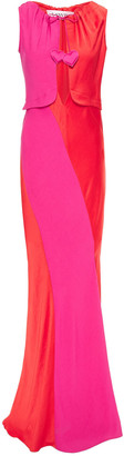 Lanvin Tie-detailed Cutout Satin And Crepe Gown
