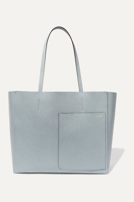 Valextra Shopping Textured-leather Tote - Blue