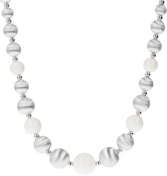 Arte D'argento Arte D' Argento Sterling White Agate Graduated Bead Necklace
