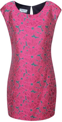 Haris Cotton Sleeveless Embroidered Mini Dress Fuchsia
