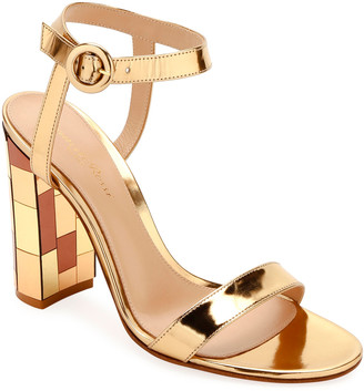 Gianvito Rossi Metallic Mirrored-Heel Sandals