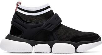 Moncler Black Velcro suede trim sock sneakers