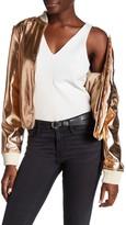 Bagatelle Faux Leather Metallic Bomber Jacket