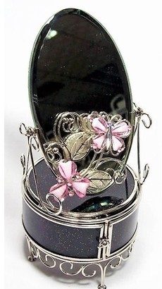 Elégance Pink Butterfly Jewelry Chest with Mirror