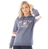 Fluid Womens Chest Print Hoodie With Arm Band Navy/Burgundy/Grey
