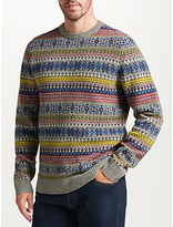 John Lewis Fairisle Crew Neck Jumper, Grey